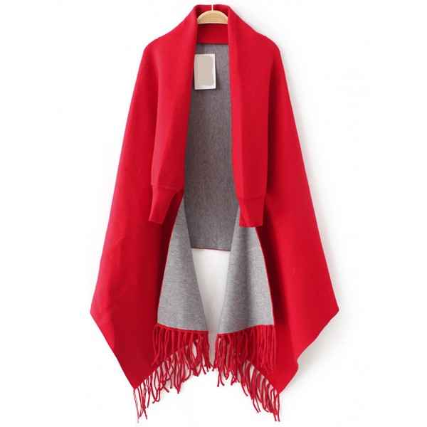 Red Grey Tassels Dolman Sleeves Poncho Sweater