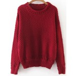 Red Loose Long Sleeves Winter Neck Sweater