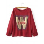 Red W Letter Round Neck Long Sleeves Sweater