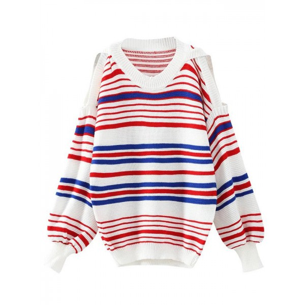 Red White Lines Striped Open Shoulder Loose Sweater