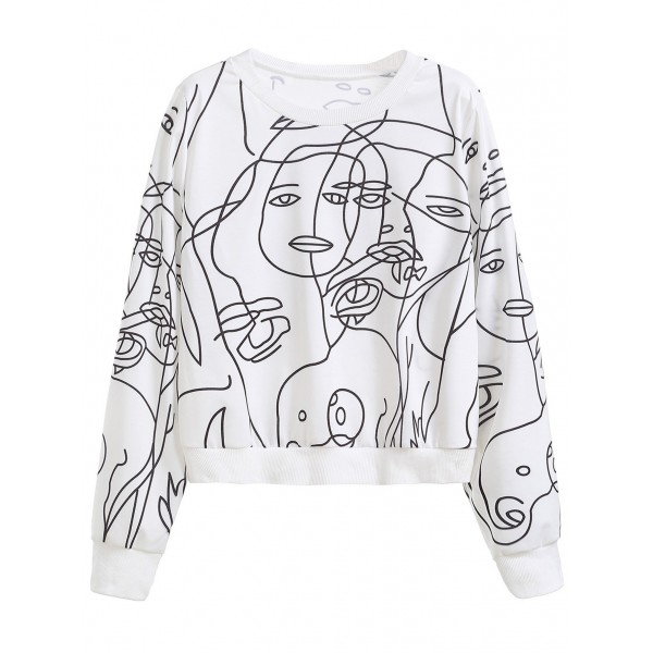 White Abstract Graphic Print Long Sleeves Sweatshirt