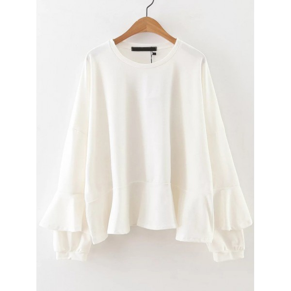 White Bell Long Sleeve Ruffles Sweatshirt