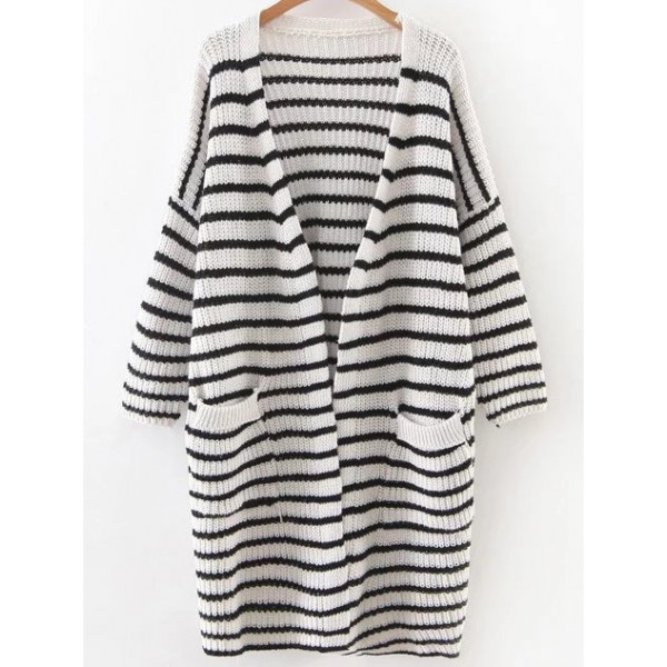 White Black Striped Lines Drop Shoulder Winter Long Cardigan