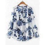 White Blue Vintage Flowers Floral Long Sleeves Tunic Blouse
