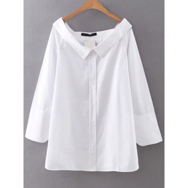 White Boat Wide Neck Button Up Loose Long Sleeves Blouse