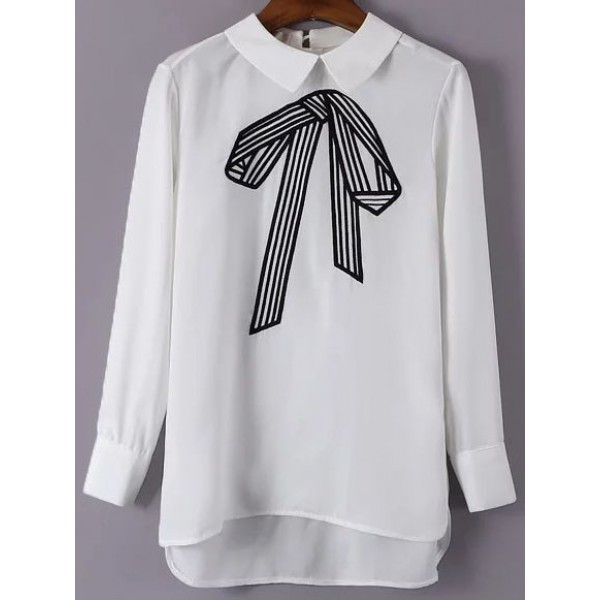 White Bow Embroideried Lapel Collar Long Sleeves Blouse