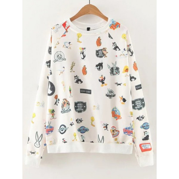 White Cartoon Print Long Sleeves Sweatshirt