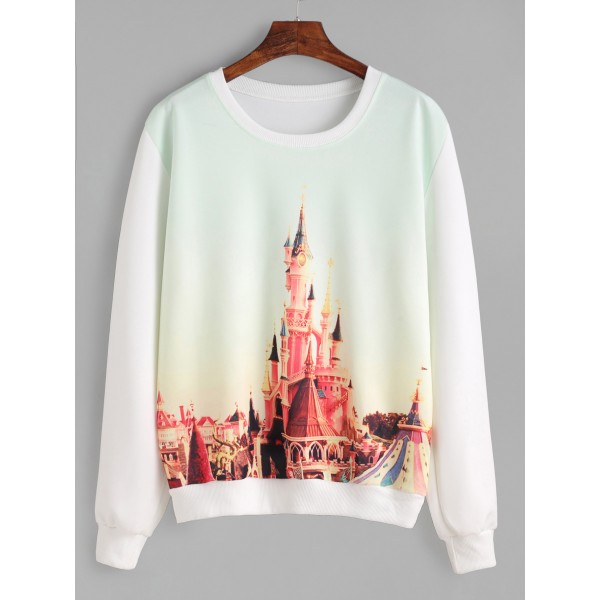White Castle Painting Long Sleeves Crew Neck Sweatshirt