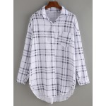 White Checkers Plaid Long Sleeves Boyfriend Shirt Blouse