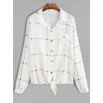 White Checkers Plaid Long Sleeves Hemd Shirt Blouse