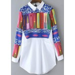 White Colorful Abstract Geometric Long Sleeves Shirt Blouse