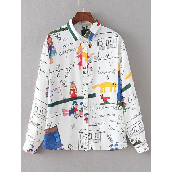 White Colorful Cartoon Painting Long Sleeves Button Up Blouse