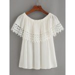 White Crochet Lace Trimmed Off Shoulder Short Sleeves Blouse Shirt Top