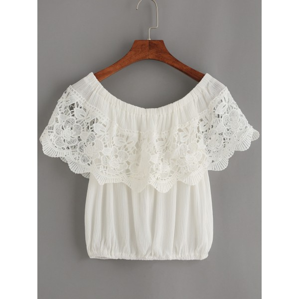 White Crochet Sexy Off Shoulder Top Blouse