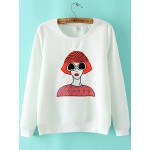 White Embroideried Sunglasses Girl Crew Neck Long Sleeves Sweatshirt