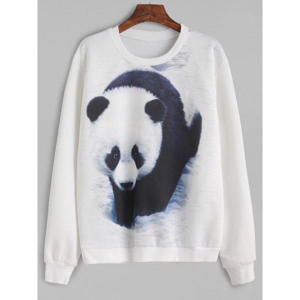White Giant Panda Print Long Sleeves Sweatshirt