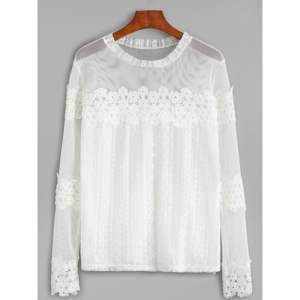 White Gothic Crochet Sheer Lace Long Sleeves Blouse
