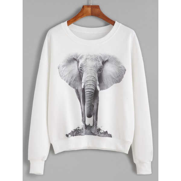 White Grey Elephant Print Long Sleeves Crew Neck Sweatshirt