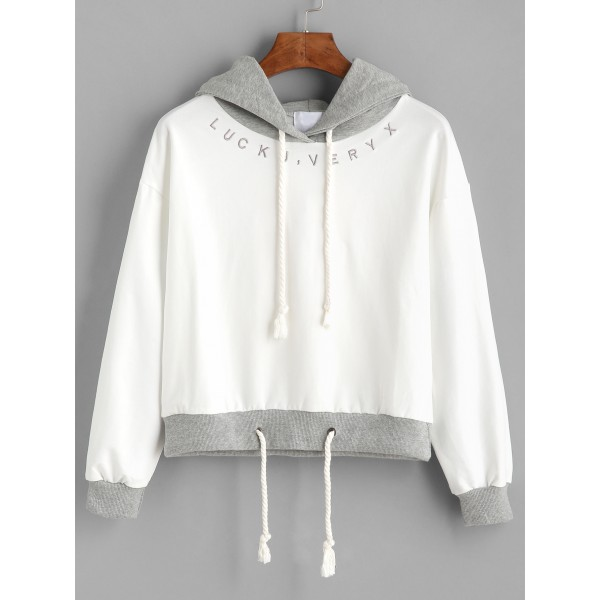White Grey Lucky Very X Hoodie Hooded Sweatshirt
