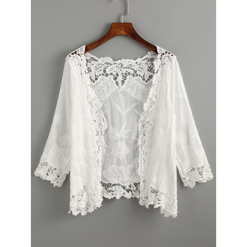 White Lace Crochet Embroidered Hollow Out Jacket Cardigan Kimono
