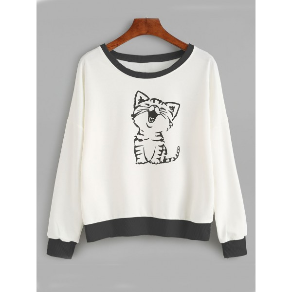 White Laughing Cat Long Sleeves Sweatshirt