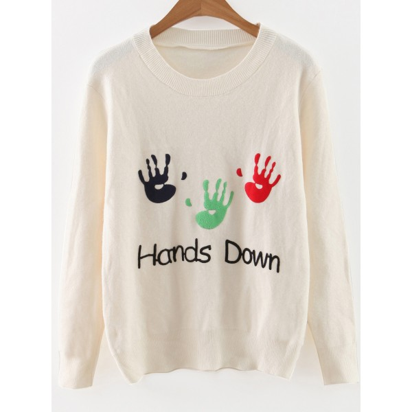 White Palm Hand Print Round Neck Loose Sweater