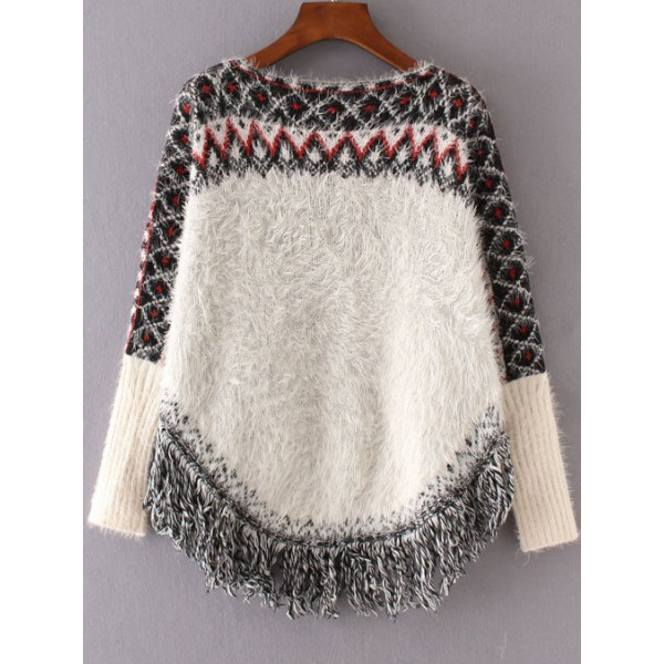White Poncho Pattern Long Sleeves Loose Cape Sweater