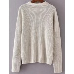 White Round Crew Neck Loose Shoulder Knitwear Sweater