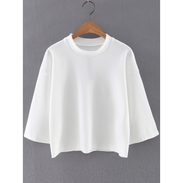 White Round Neck Half Sleeves Top Blouse