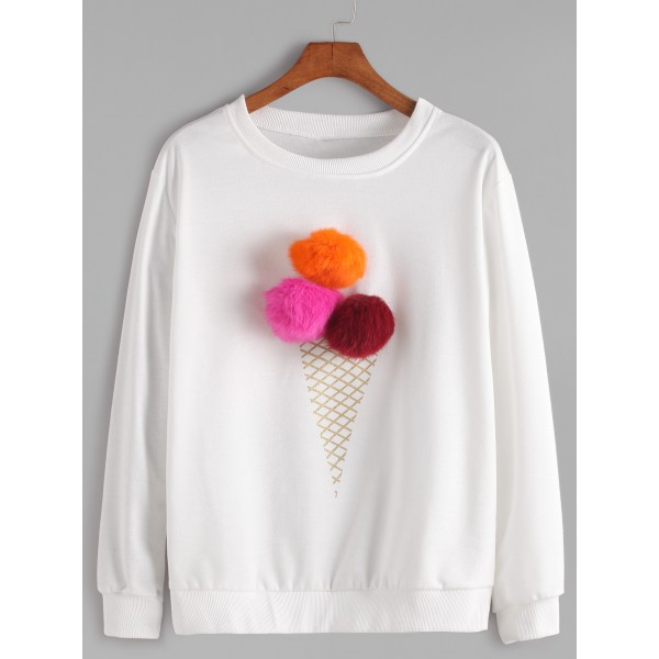 White Round Neck Pom Pom Ice Cream Long Sleeves Sweatshirt