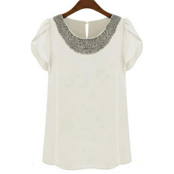 White Round Neck Rhinestones Beads Embellished Short Sleeves Chiffon Blouse