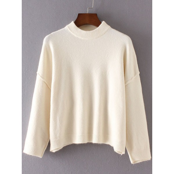 White Round Neck Ribbed Lines Loose Shoulder Sweater