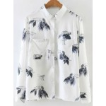 White Tiger Leaves Long Sleeves Blouse Shirt Top