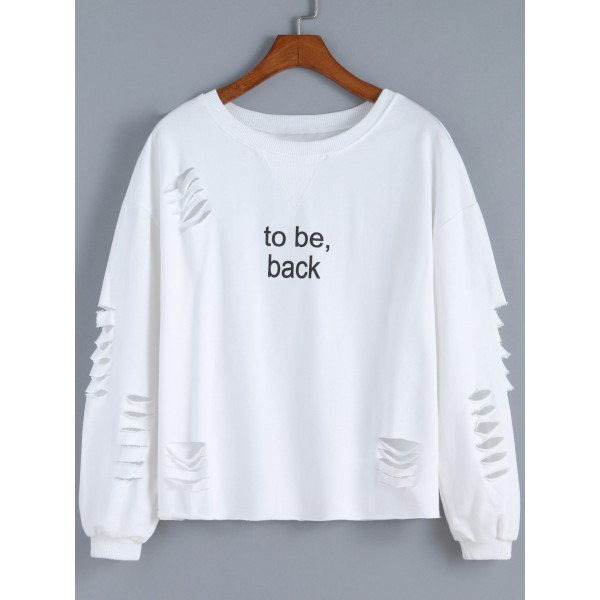 White To Be Back Long Sleeves Destroyed Cut Out Sweatshirt