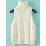 White Turtleneck Knitted Sleeveless Sweater Vest