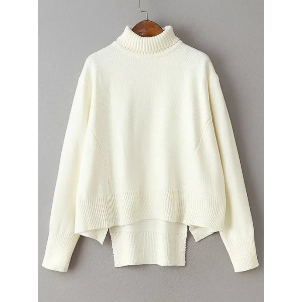 White Turtleneck Long Sleeves Loose Winter Sweater