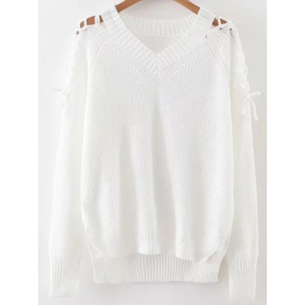 White V Neck Loose Lace Up Long Sleeves Sweater