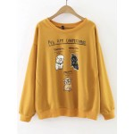 Yellow Cartoon Dogs Print Long Sleeves Sweatshirt