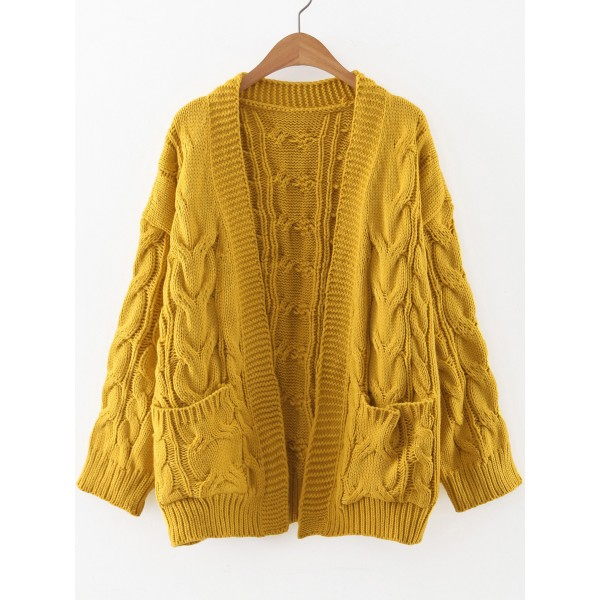 Yellow Knitted Front Pocket Long Sleeves Cardigan Jacket
