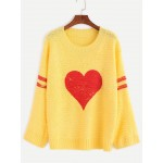 Yellow Red Heart Print Winter Sweater