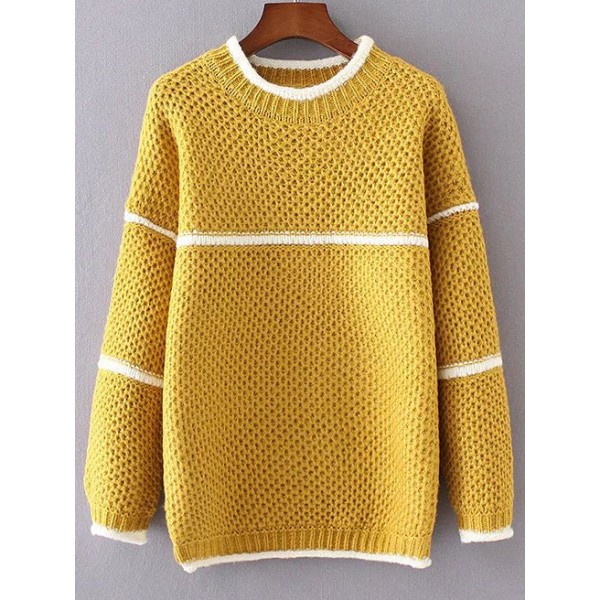 Yellow White Lines Striped Round Neck Loose Sweater