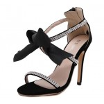 Black Rhinestones Satin Bow Stiletto Heels Sandals