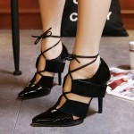Black Patent Leather Gladiator Pointed Head Strappy Lace Up High Stiletto Heels Shoes