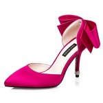 Fushia Pink Satin Back Giant Bow Diamonte Bridal Point Head High Stiletto Heels Shoes