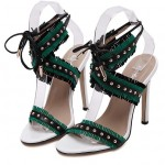 Green Blue White Studs Cross Straps Fringes Bohemian High Stiletto Heels Sandals Shoes