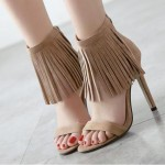 Khaki Brown Suede Ankle Fringes Bohemia Retro Stiletto High Heels Sandals Shoes
