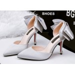 Silver Satin Back Giant Bow Diamonte Bridal Point Head High Stiletto Heels Shoes