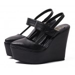 Black Punk Rock Gothic Sling Back  Platforms Wedges Straps Shoes