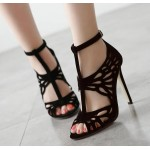 Black Suede T Strap Mary Jane Hollow Cut Out High Heels Stiletto Peep Toe Sandals Shoes