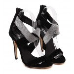 Black Suede Straps Diamonte Rhinestones Gown High Stiletto Heels Pumps Sandals